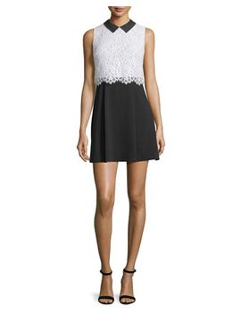 Desra Sleeveless Lace & Crepe Dress, Black/White by Alice + Olivia