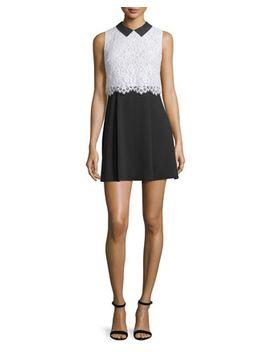 desra-sleeveless-lace-&-crepe-dress,-black_white by alice-+-olivia