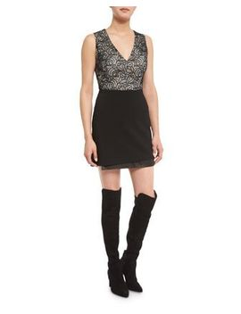 Zooey Lace V Neck Bodysuit & Darcie Double Layer Leather Combo Mini Skirt by Alice + Olivia
