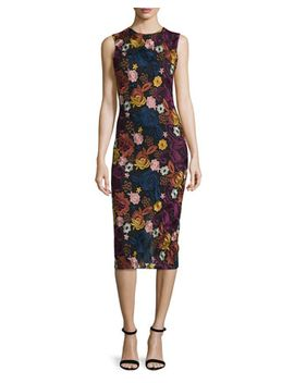 Nat Sleeveless Embroidered Midi Dress, Multicolor by Alice + Olivia
