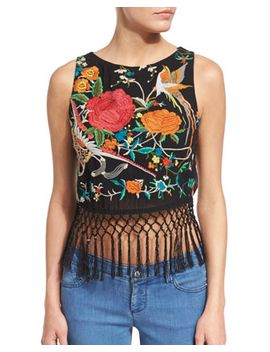 Clarice Sleeveless Embroidered Fringe Crop Top, Black/Multicolor by Alice + Olivia