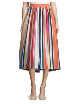 Nikola Striped High Waist Midi Skirt, Multicolor by Alice + Olivia