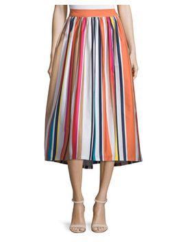 Nikola Striped High Waist Midi Skirt, Multicolor by Alice + Olivia