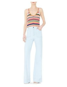 Sandrine Crochet V Neck Top & Juno High Rise Wide Leg Pants by Alice + Olivia