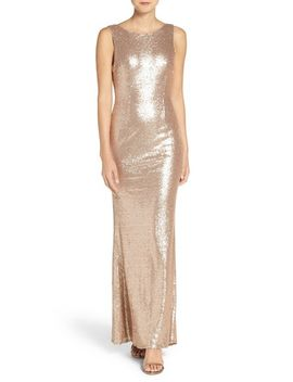 sleeveless-sequin-drape-back-gown by lulus