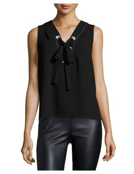 Marcia Sleeveless Lace Up Crepe Top by Bcbgmaxazria