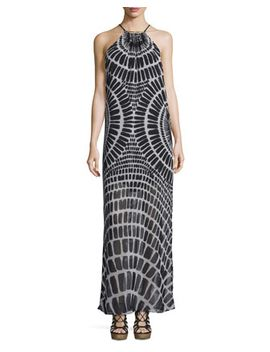 Sleeveless Printed Chiffon Maxi Dress, Black by Trina Turk