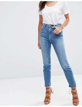 asos-farleigh-high-waist-slim-mom-jeans-in-gwen-mid-stonewash-blue by asos-collection