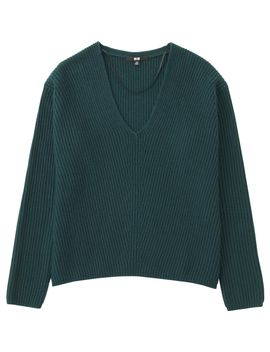 Shoptagr | Women Cashmere Blend V Neck Sweater by Uniqlo