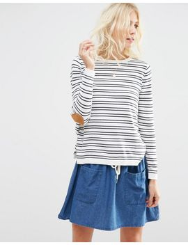asos-sweater-in-stripe-with-oval-tan-elbow-patch by asos-collection