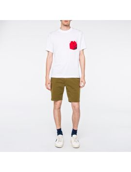 Men's White 'rose' Print Pocket Supima Cotton T Shirt by Paul Smith