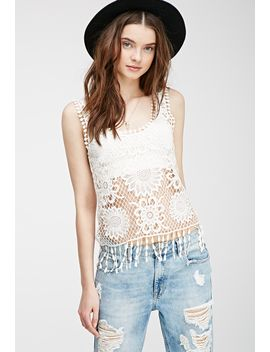 fringed-floral-crochet-tank by forever-21