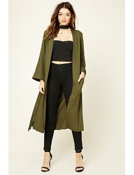 belted-longline-kimono by forever-21