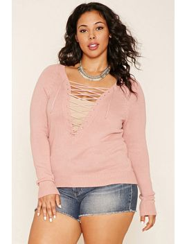plus-size-lace-up-sweater by forever-21