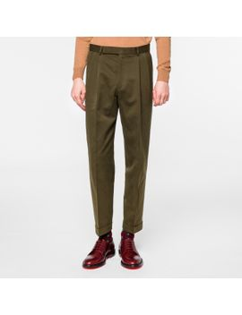 Men's Khaki Cotton Linen Twill Tapered Trousers by Paul Smith