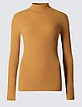 ribbed-polo-neck-jumper by marks-&-spencer