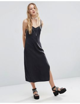 asos-denim-midi-slip-dress-in-washed-black-with-side-split by asos-collection