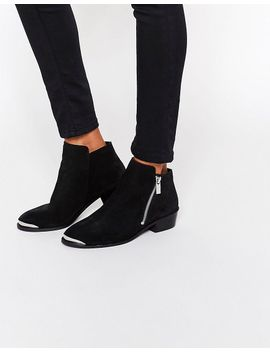 asos-ashton-leather-zip-ankle-boots by asos-collection
