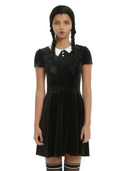 black-&-white-collar-velvet-dress by hot-topic