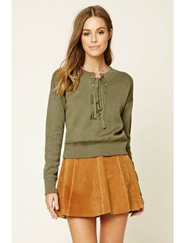 contemporary-lace-up-sweater by forever-21