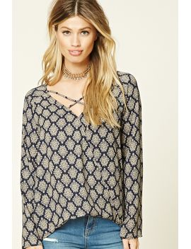 damask-crisscross-surplice-top by forever-21