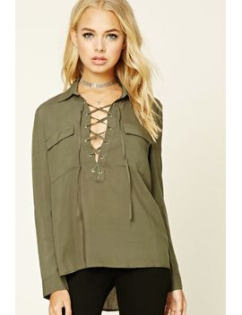 lace-up-shirt by forever-21