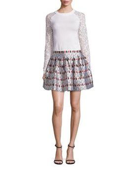 fizer-pleated-printed-skirt by alice-+-olivia