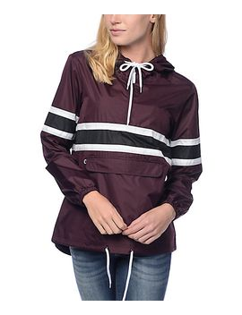 zine-shiloh-burgundy-&-black-stripe-packable-windbreaker by zine