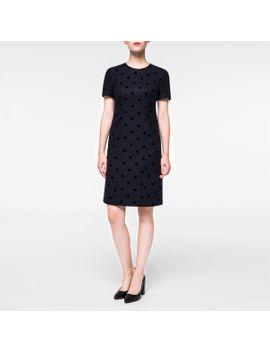 Women's Dark Navy Flocked Polka Dot Dress by Paul Smith