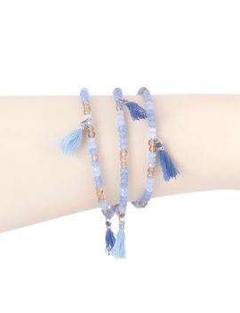 Triple Wrap Beaded Bracelet With Tassels   Blue by Joyus
