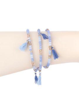 Triple Wrap Beaded Bracelet With Tassels   Blue by Joyus