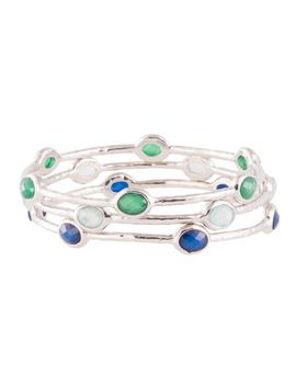 Set Of Three Bangles   Blue/Rhodium by Joyus