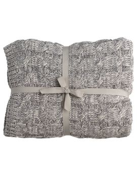 Darzzi For Joyus Heavy Cable Knit Throw   Marled Grey by Joyus