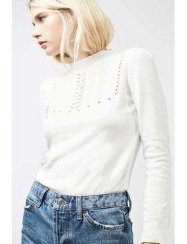 puff-shoulder-pointelle-top by topshop