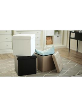 Tufted Foldable Storage Ottoman   Black by Fhe