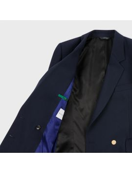 Women's Navy Wool Silk Piqué Double Breasted Blazer by Paul Smith