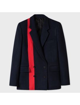 Women's Navy Dogtooth Wool Double Breasted Blazer With Stripe by Paul Smith