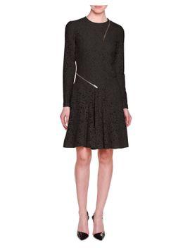 long-sleeve-lace-dress-w_zip-trim,-black by stella-mccartney