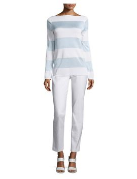 long-sleeve-striped-sweater,-white by michael-kors
