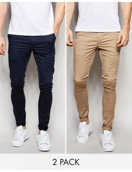 asos-2-pack-extreme-super-skinny-chinos-in-navy-&-stone-save by asos