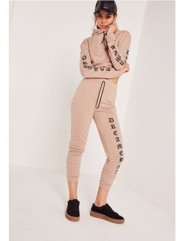 petite-printed-sleeve-crop-sweater-nude by missguided