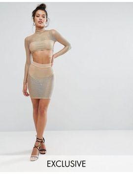 naanaa-metallic-sheer-pencil-skirt by naanaa