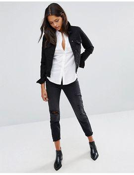 vero-moda-petite-distressed-mom-jeans by vero-moda-petite