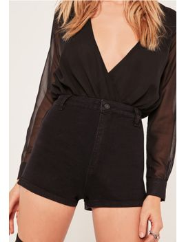 vice-high-waisted-denim-shorts-black by missguided