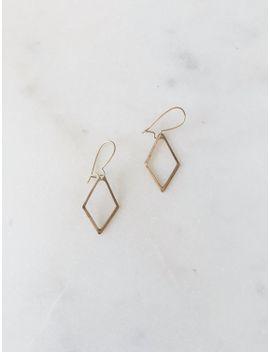 1990s-dead-stock-vintage-delicate-gold-brushed-diamond-dainty-drop-minimal-dangle-earrings by pinkcoconutvintage
