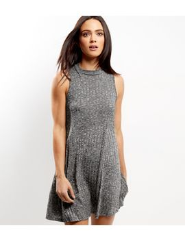 apricot-grey-ribbed-funnel-neck-sleeveless-dress by new-look