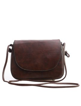 faux-leather-magnetic-closure-saddle-bag---dark-brown by romwe
