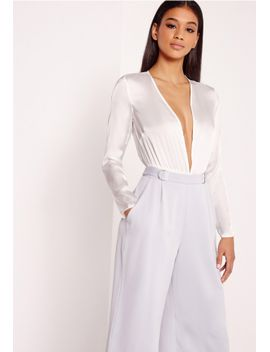 hammered-satin-bodysuit-white by missguided