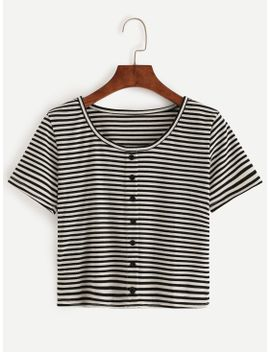 black-white-striped-t-shirt-with-buttons by romwe