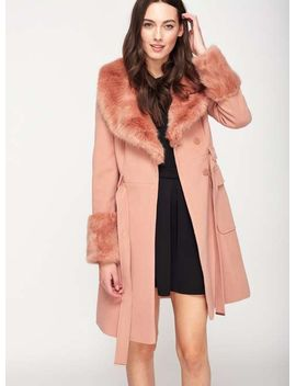 faux-fur-cuff-and-collar-coat by miss-selfridge